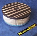 Air Cleaner 9 inch Ford Oval BLACK with 3 inch element - Stromberg two barrel diameter 2' 5/8' inch neck