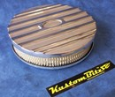 Air Cleaner 9 inch Ford Oval POLISHED with 2 inch element - Stromberg two barrel diameter 2' 5/8' inch neck