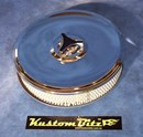 Chrome Air Cleaner 9 inch with 2 inch element - Weber 2 barrel oval neck suit Ford Crossflow 6 cyl