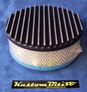 Air Cleaner 9 inch Flat Top Finned BLACK with 3 inch element - Holley diameter 5' 1/8' inch neck
