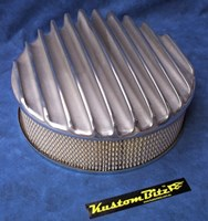 Air Cleaner 14 inch Polished Raised Fins - Holley diameter 5' 1/8' inch neck & 3 inch tall element & Flat base
