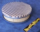 Air Cleaner 9 inch Flat Top Finned POLISHED with 2 inch element - Weber 2 barrel oval neck suit Ford Crossflow 6 cyl