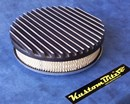 Air Cleaner 9 inch Flat Top Finned BLACK with 2 inch element - Stromberg two barrel diameter 2' 5/8' inch neck