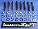 Holden 6 Cyl Bolt Kit 186 & 202 - Intake & Exhaust manifold studs & Polished Stainless nuts [KustomBitz]