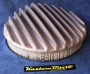 Air Cleaner 14 inch RAW [Shot Blasted] Raised Fins - Holley diameter 5' 1/8' inch neck & 2 inch tall element & Flat base