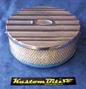 Air Cleaner 9 inch Ford Oval POLISHED with 3 inch element - Holley diameter 5' 1/8' inch neck