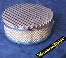 Air Cleaner 9 inch Flat Top Finned POLISHED with 3 inch element - 80mm diameter neck suit Holden Gemini