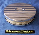 Air Cleaner 9 inch Ford Oval POLISHED with 2 inch element - Holley diameter 5' 1/8' inch neck