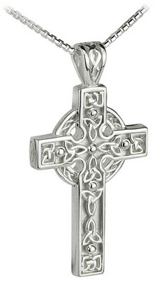 S4797 - Large Heavy Celtic Cross ,This classic celtic cross shows the Claddagh symbol. The hands represent Friendship, the heart Love and the crown Loyalty.