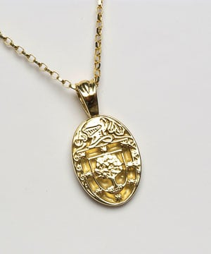 Heraldic Pendant - P600,This stunning oval shaped heraldic pendant is available in a variety of metals and made in Ireland