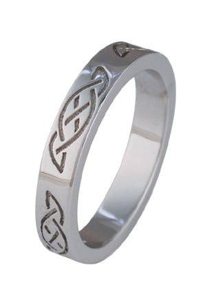 ID326 Eternity Narrow, Showing the basic celtic knot with stones. At 3.3mm it is one of the narrowest rings in our collection.