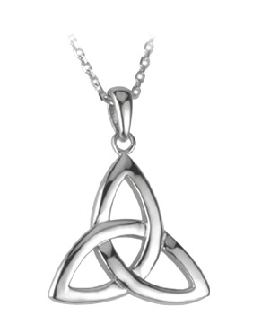 14ct White Gold  Trinity Pendant ,This pendant shows the classic trinity knot design.