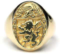 Heraldic Ring - G300,This grand mens ring is made to order in your family crest. It is 10ct yellow gold