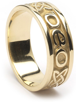 "ID210 Gra Go Deo - Mens,This ring says ""Love Forever"" in gaelic, as well as incorporating the celtic love knot. 10ct Yellow gold."