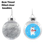 8 cm Tinsel Filled Silver Christmas Bauble
