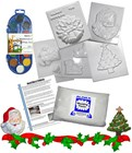 Christmas Special Mould Kit - 5 Moulds - Plaster - Instructions - Paints & Brush