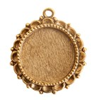 Ornate Large Pendant Circle Single Loop Antique Gold