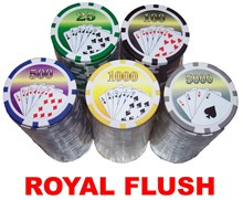 500 Chip POKER SET, Royal Flush 14g Clay Chips in Aluminium Case
