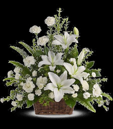 T228 1A Peaceful White Lilies Basket Cainsbridalwreathcom