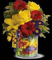 T22-3A BIRTHDAY RIBBON BOUQUET