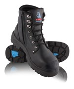 Steel Blue Argyle Zip Side Lace Up Safety Boot with Bump Cap