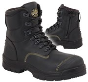 55-345Z Oliver Safety Boot Black Zip Side / Lace-Up Steel Toe