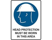 Sign Head Protection Must Be Worn In This Area - Mandatory Sign