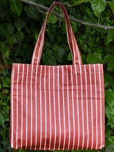 OILCLOTH RECTANGULAR SHOPPING TOTE - RED/WHITE STRIPED DESIGN