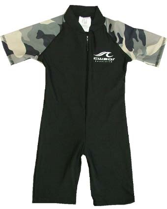 BLACK SWIMSUIT with CAMOUFLAGE SLEEVES - BABY / TODDLER