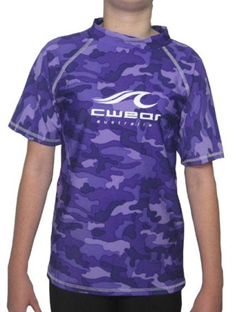 SALE - PURPLE CAMO SWIM SHIRT - JUNIOR