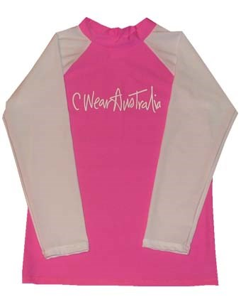 PINK SWIM SHIRT with WHITE LONG SLEEVES - BABY / TODDLER