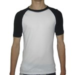 CREW NECK SWIM SHIRT - WHITE with BLACK SLEEVES  2XL - 3XL