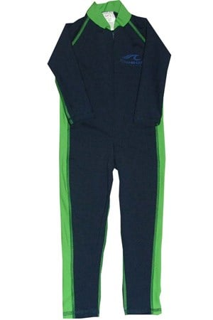 NAVY & GREEN STINGER SUITS - SIZE 10 to 12