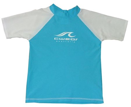 AQUA SWIM SHIRT with WHITE SLEEVES  - SIZE 0 with FREE SHORTS