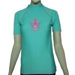 SALE - ADULT ATLANTIS GREEN SWIM SHIRT with PINK SURFBOARD - XS