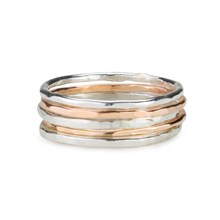 Skinny  rings sterling silver and gold