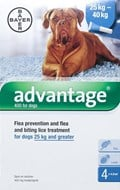 Advantage Blue Dogs Over 55lbs (25kg) - 4 Pack