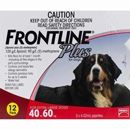 Frontline Plus XL Dogs 88-132lbs (40-60kg) - 12 Pipettes