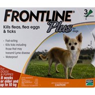 Frontline Plus Small Dogs Under 22lbs (10kg) - 3 Pipettes