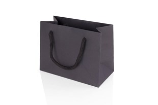 Small Landscape Black Paper Gift Bag With Rope Handles 120 x 160 x 80mm (JULBLSM)