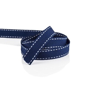 Navy Grosgrain Ribbon With White Stitching 16mm | Stitched Grosgrain Collection