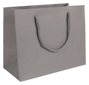 Medium Landscape Grey Paper Gift Bag With Rope Handles 200 x 250 x 120mm (LBGRME)