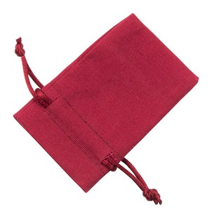Small Red Cotton Bag With Silk Drawstring