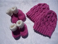 Twin Bootee and Beanie Sets