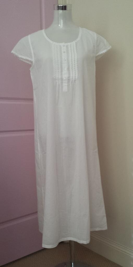 French Country White Cotton Voile Nightie Fcf176 V Pure