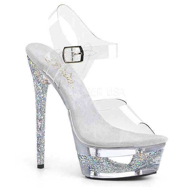 687a1f2ac89 Pleaser ECLIPSE 608 GT Clear Silver Glitter Pleaser High Heel Shoe Shop  Weddings Formals Pole Dancers Transgender Stage