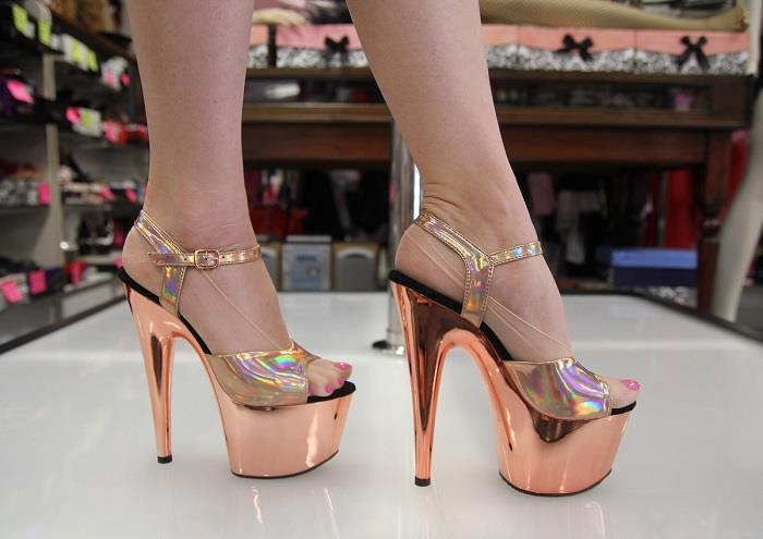 14e2c12b2e PLEASER ADORE 709 HGCH Rose Gold Chrome Hologram Top 7 Inch Heels