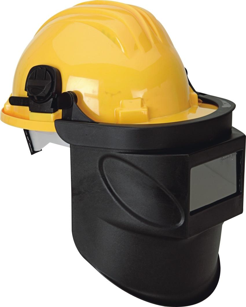 Protective face shield. Personal protective equipment for welders