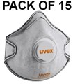 UVEX - Silv-Air C2220 FFP2 Valved Molded Disposable Mask with Active Carbon Filter - Pack of 15 - Conforms to EN149 - [TU-8732-220]