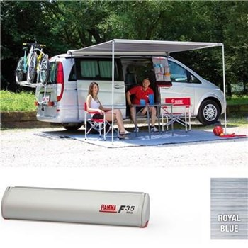 Fiamma F35 Pro awning. 250cm - Titanium case with a Royal Blue canopy